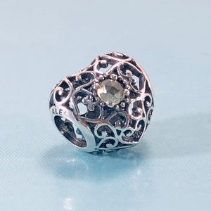 Pandora August Signature Birthstone Heart Charm